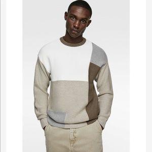 NEW Zara Patchwork Colorblock Sweater